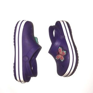 Children's crocs size 7. Purple with charms